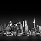 West Side skyline at night, Manhattan New York by Justin Foulkes