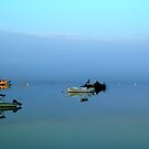 3 boats, harbour, Maine by fauselr