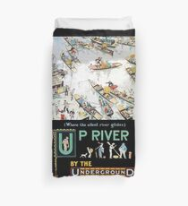TUBE, POSTER, London, Underground, 1913, Up River by the Underground, by Tony Sarg Duvet Cover