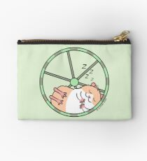 Hamster Sleeping in Exercise Wheel Studio Pouch