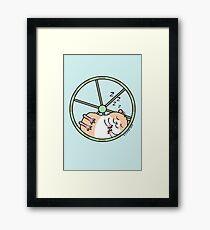 Hamster Sleeping in Exercise Wheel Framed Print