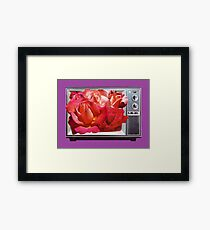 Retro TV with Rose Bouquet Collage Framed Print