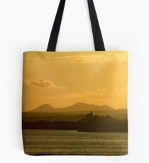 Twilight over Derryveagh mountains - with O'Doherty Castle from Inch Level Tote Bag