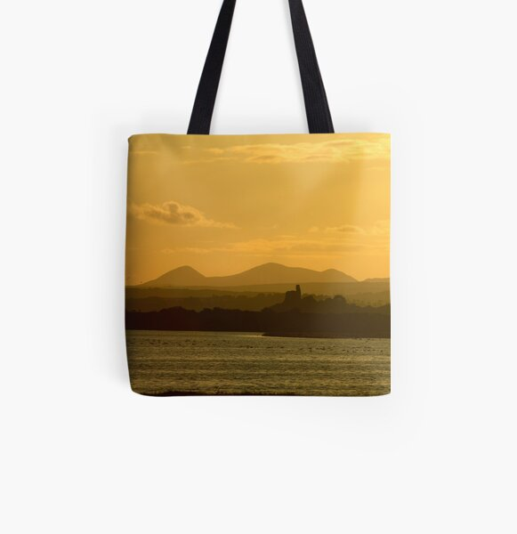 Twilight over Derryveagh mountains - with O'Doherty Castle from Inch Level All Over Print Tote Bag