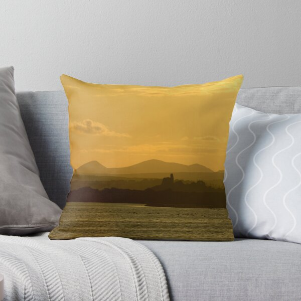 Twilight over Derryveagh mountains - with O'Doherty Castle from Inch Level Throw Pillow