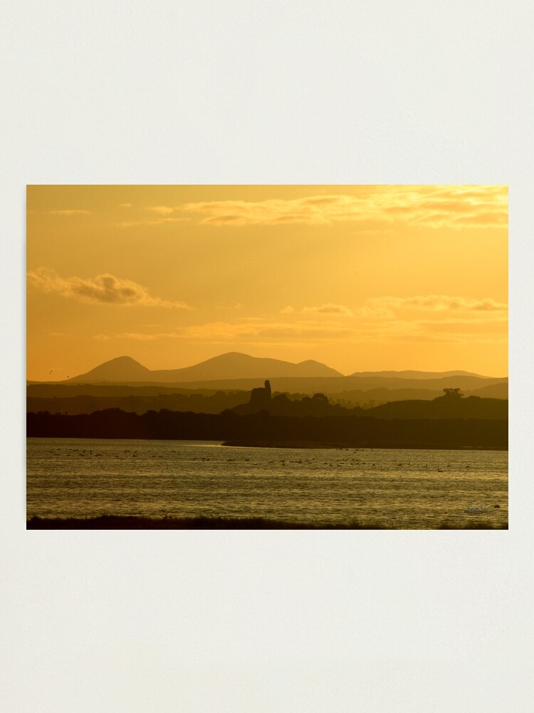 Alternate view of Twilight over Derryveagh mountains - with O'Doherty Castle from Inch Level Photographic Print