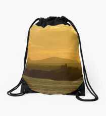 Twilight over Derryveagh mountains - with O'Doherty Castle from Inch Level Drawstring Bag