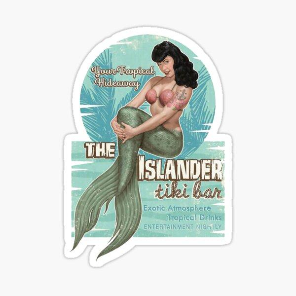 The Islander Tiki Bar - Bettie Page Mermaid Sticker
