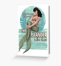 The Islander Tiki Bar - Bettie Page Mermaid Greeting Card