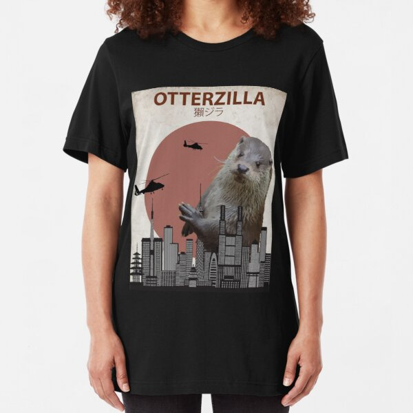 Otterzilla - Giant Otter Monster Slim Fit T-Shirt