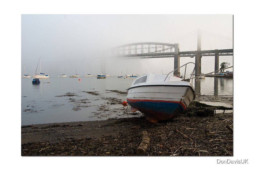 Misty River Tamar and Tamar Bridges: Plymouth UK. by DonDavisUK
