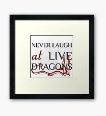 Never Laugh at Live Dragons ~ JRR Tolkien Framed Print