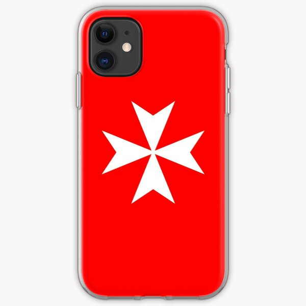 MALTA, Maltese, Amalfi Cross, Maltese cross, Knights Hospitaller, WHITE on RED. iPhone Soft Case