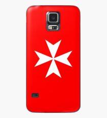 MALTA, Maltese, Amalfi Cross, Maltese cross, Knights Hospitaller, WHITE on RED Case/Skin for Samsung Galaxy