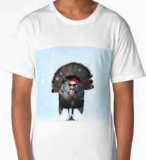 Cool Christmas Turkey wearing Santa Hat and sunglasses Long T-Shirt