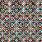 Teal Red Beige Ethnic Pattern, Flowers, Chevrons by Judy Adamson
