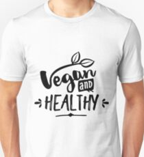 Vegan And Healthy Typography T-Shirt
