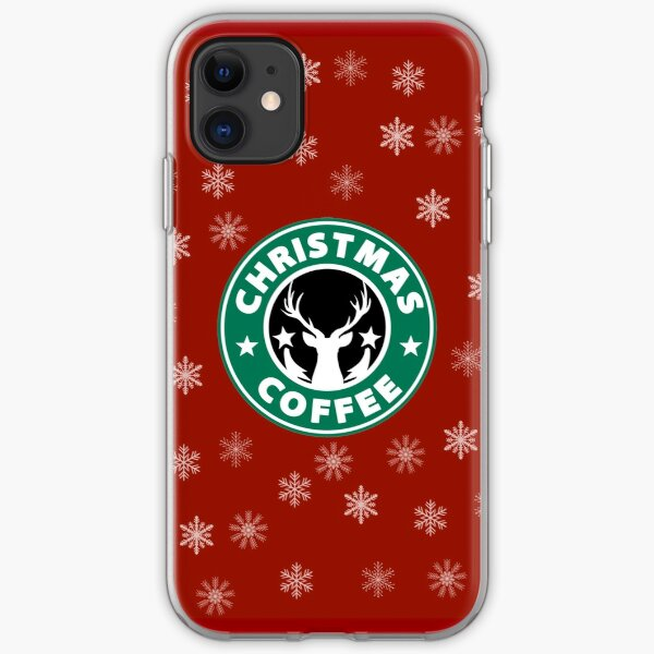 Christmas Coffee (Reindeer and Snowflakes) iPhone Soft Case