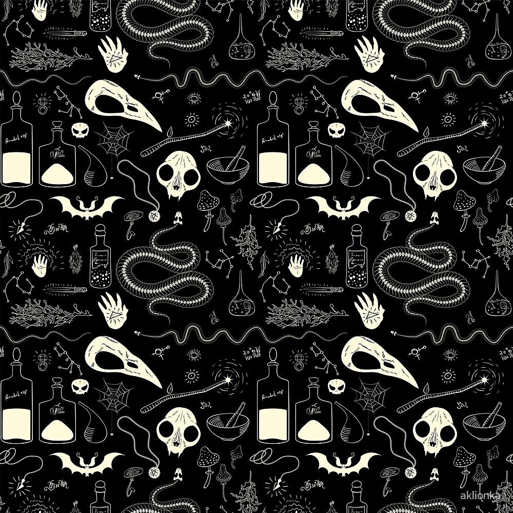 Witchcraft pattern with animal skulls by aklionka