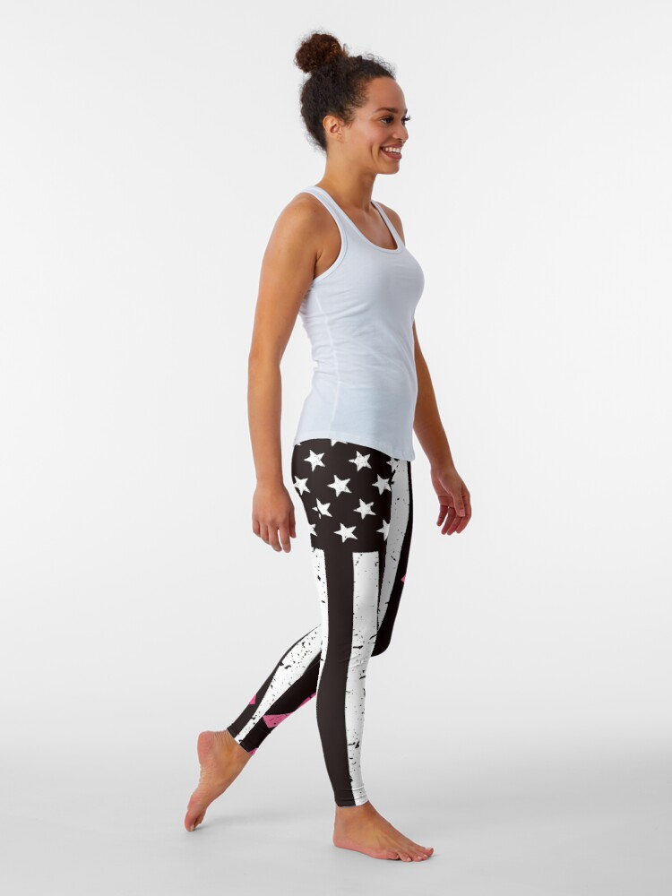 Alternate view of Pink Ribbon Breast Cancer Awareness Flag Hope Strength Courage Gift Tee Leggings