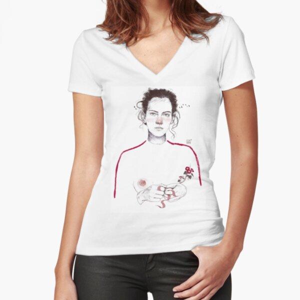 LA LUCHADORA by elenagarnu Fitted V-Neck T-Shirt