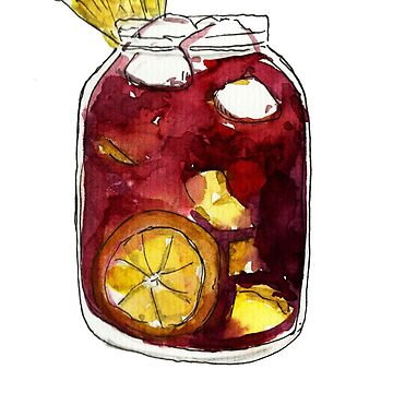 A full Mason jar of Sangria by KaylaPhan