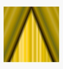Cinema Closed Yellow Curtain. Yellow Textile Pattern. Cinema Stage. Photographic Print