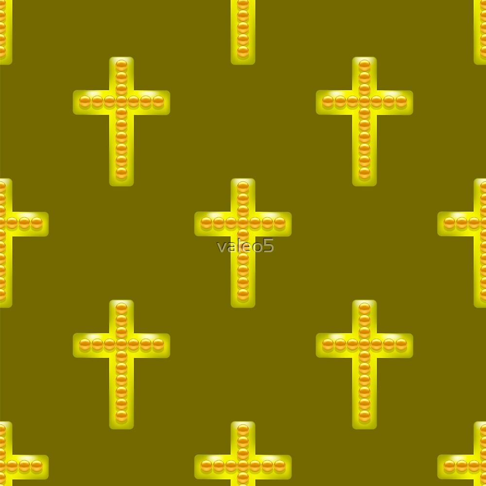 Golden Metal Cross Seamless Pattern on Brown Background. Christian ...