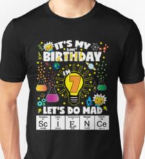 It's My Birthday Let's Do Mad Science Birthday TShirt For Kids Age 7 T-Shirt