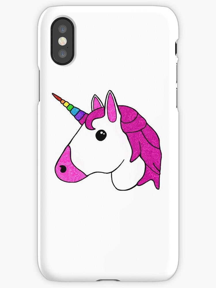 'Licorne emoji mandala' Coque et étui iPhone by Rhiannon Staines