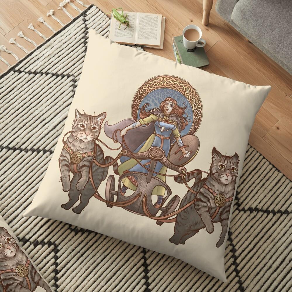 Freya Driving Her Cat Chariot Floor Pillow