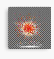 Explosion Cloud of Red Pieces on Checkered Background. Sharp Particles Randomly Fly in the Air. Canvas Print