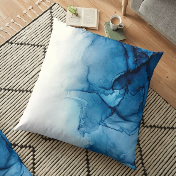Blue Tides - Alcohol Ink Painting Floor Pillow