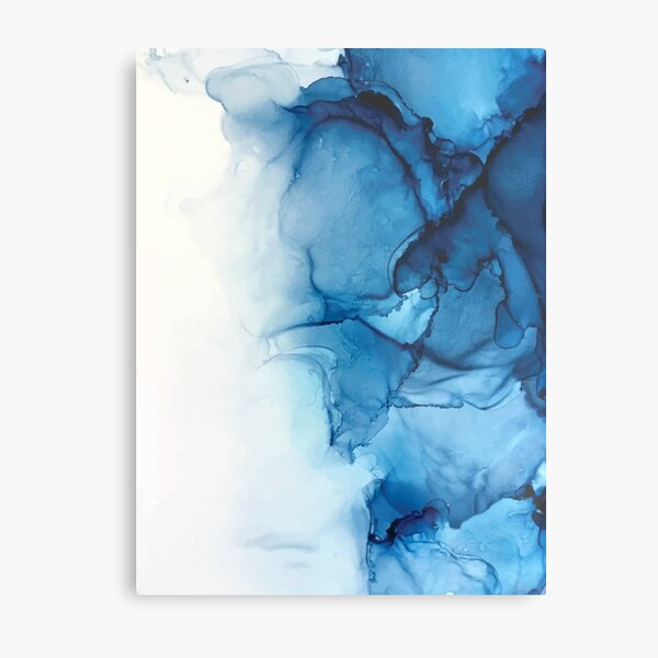 Blue Tides - Alcohol Ink Painting Metal Print