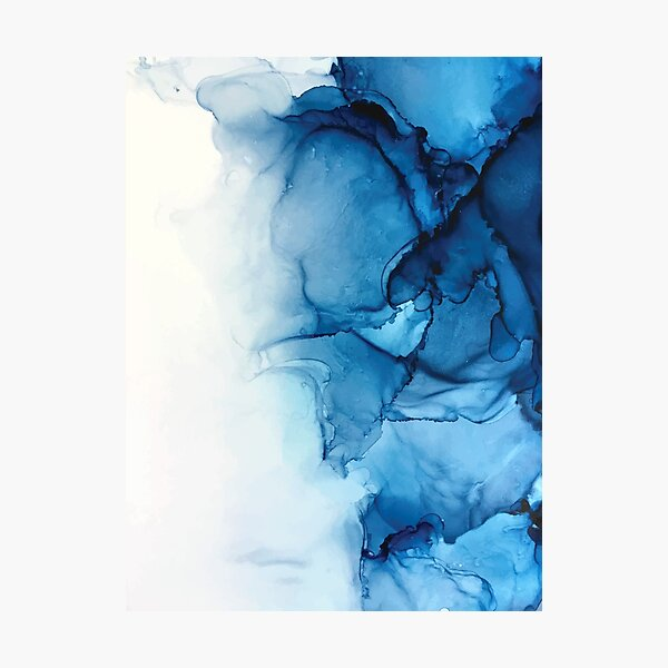 Blue Tides - Alcohol Ink Painting Photographic Print
