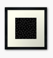Hippopotamus Seamless Drawing Pattern on Black. Animal Cartoon Background Framed Print