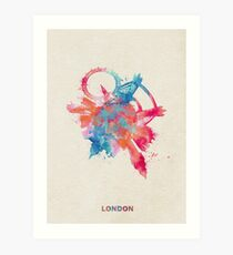 London, United Kingdom Skyround Art / Circular Panoramic Skyline Painting Art Print