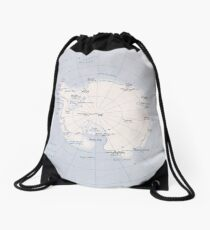Map of the Antarctic Region (1982) Drawstring Bag