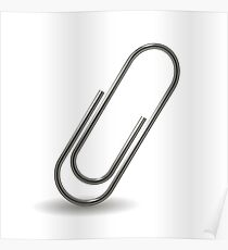Steel Paper Clip Isolated on White Background Poster