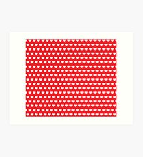 Polka Hearts Red Art Print