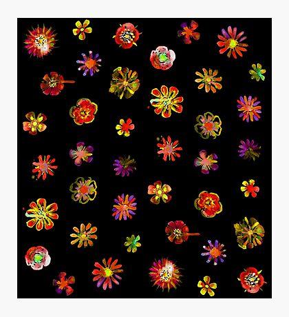 Watercolor Flowers black Impression photo