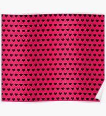 Polka Hearts Pink And Black Poster