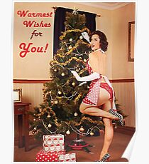 Pin up sexy woman decorate Christmas tree Poster