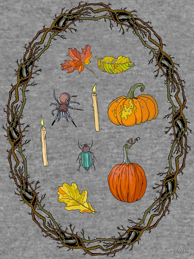 Autumn wreath branches frame with Halloween symbols. by naktis