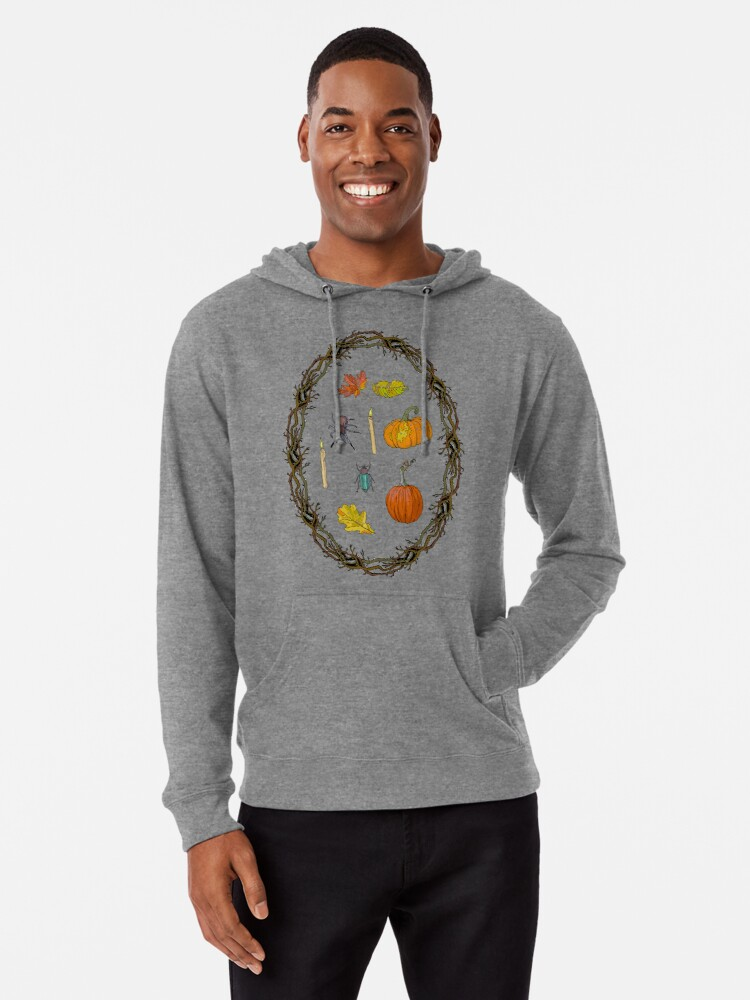 Alternate view of Autumn wreath branches frame with Halloween symbols. Lightweight Hoodie