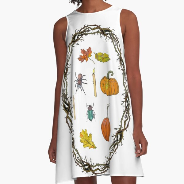 Autumn wreath branches frame with Halloween symbols. A-Line Dress