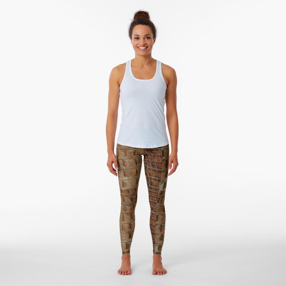 2D Photo-sampled Faux-Crocodile Leather-effect Leggings