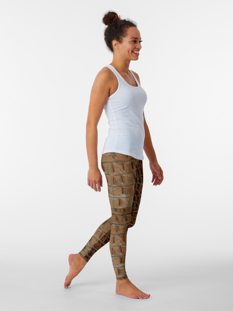 Alternate view of 2D Photo-sampled Faux-Crocodile Leather-effect Leggings