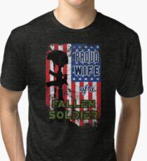 Proud Wife of a Fallen Soldier Veterans Day Shirt Tri-blend T-Shirt