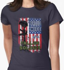 Proud Wife of a Fallen Soldier Veterans Day Shirt Women's Fitted T-Shirt